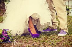 Purple Shoes, Purple & Green Flowers (WildFlowers Inc). Wedding at Old Wide Awake Plantation, Charleston, SC  www.wildflowersinc.com  www.jeannemitchum.com