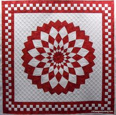 Red and White Giant Dahlia quilt by Janann, quilted by Linda at LR Designs Quilting