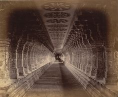 The long colonnade of the Ramanathaswamy Temple 1884 Photograph of a colonnade in the Ramanathaswamy Temple, Rameswaram in Tamil Nadu, taken by Nicholas and Company in from the Archaeological Survey of India Collections. (via British Library) Indian Temple Architecture, India Architecture, Ancient Architecture, Beautiful Architecture, Classic Architecture, Ramanathaswamy Temple, Temple India, Hindu Temple, Hindus