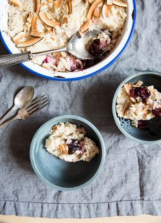 coconut rice pudding with roasted cherries — whats cooking good looking