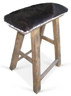 Antique Shandong Elm Stool w/ Cowhide  exclusively by FRAGMENTS IDENTITY by interior & product designer Tammy Price . The perfect little pull up seat to any room.