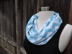 Infinity Scarf // Sky Blue Chevron // Loop by MrsShellyHomemaker, $18.00