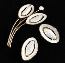 RARE Aksel Holmsen Norway Sterling Brooch Earrings Mod 925s/Enamel White Silver