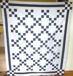 Handmade Machine Sewn Blue and White Quilt by TwinsOfAllTrades, $125.00