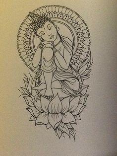 tattoo buddah drawing buddah tattoo peace tattoo buddha tattoo this Kunst Tattoos, Bild Tattoos, Body Art Tattoos, Tattoo Arm, Tatoos, Ganesha Tattoo Thigh, Zen Tattoo, Female Arm Sleeve Tattoos, Thigh Piece Tattoos