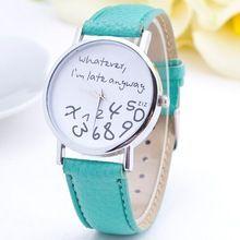 2015 nueva moda Casual Watch mujeres Gilr estudiante lo que soy Late de todos modos de dibujos animados reloj de cuero PU mujeres reloj de pulsera reloj hora(China (Mainland))