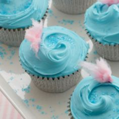 Homemade cupcakes topped with cotton candy frosting bring the fun of a county fair right into your kitchen.
