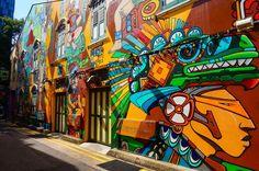 Großes Graffiti in der Haji Lane