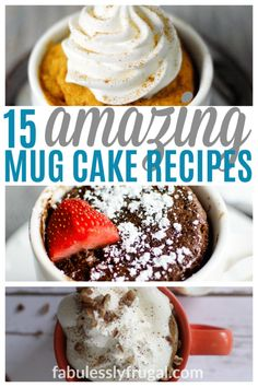 15 Amazing Microwave Mug Cake Recipes That Will Solve All Your Cake Dilemmas Recipes - Fabulessly Frugal Microwave Deserts, Microwave Cupcake, Microwave Mug Recipes, Microwave Baking, Baking Recipes, Snack Recipes, Dessert Recipes, Snacks, Microwave Mug Cakes
