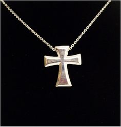 "Peace Be With U - Christian Store - Beveled Cross 18"" Christian Necklace, $12.99 (http://www.peacebewithu.com/beveled-cross-18-christian-necklace/)"
