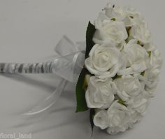 Artificial silk flower white rose wedding bouquet posy flowers pearl silver