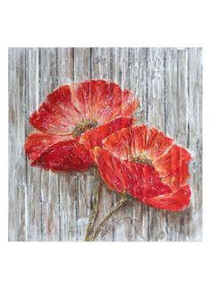 Toile en canevas - 2 fleurs rouges