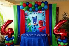 Pj Mask Party Decorations, Birthday Decorations, Pj Masks Balloons, Pjmask Party, Ideas Decoracion Cumpleaños, Pj Masks Birthday Cake, Festa Pj Masks, 4th Birthday Parties, 3rd Birthday