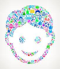 Boy Face on School & Education  Icon Pattern vector art illustration