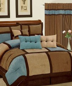 Comforter Set Blue Brown Micro Suede Patchwork Cal King Size Bed in a Bag Luxury Comforter Sets, Blue Comforter Sets, Queen Size Bedding, Bedding Sets, Brown Comforter, Bedroom Sets, Master Bedroom, Bedroom Decor, Blue Bedroom