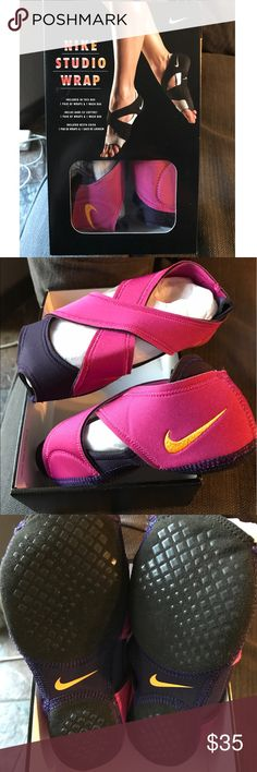 Nike studio wrap Hot pink and purple Nike Studio wrap shoes . Great for yoga,dance and barre types of class. Size large , Women's 9.5-10.5 . Worn once - in great shape. Original box with Nike mesh bag. 🌺🌸 Nike Shoes Athletic Shoes