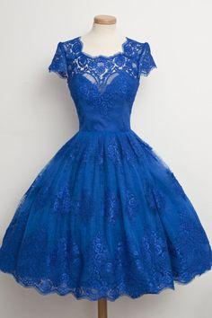 Party Dress,A-Line Vintage Lace Short Prom Cocktail Party
