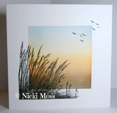 """By Nicki Moss. Card with ink-dusted panel and """"Windswept"""" stamp by Inkylicious. Cool Cards, Diy Cards, Beach Cards, Watercolor Cards, Sympathy Cards, Masculine Cards, Creative Cards, Greeting Cards Handmade, Homemade Cards"""