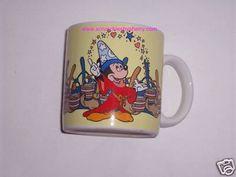 Walt Disney Productions Mickey Mouse Fantasia Ceramic Tea Coffee Mug Cup Vintage