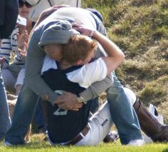 Mike Tindall and Harry. I don't know when this was taken, but it's too charming not to pin!
