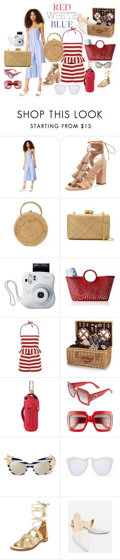 Red White & Blue by suzanne-smith-i on Polyvore featuring Club Monaco, RED Valentino, Loeffler Randall, MICHAEL Michael Kors, Topshop, Serpui, Gucci, Karen Walker, Picnic Time and Honey-Can-Do