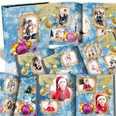 Free Christmas photo album psd with new year clock and snowflakes and decorated with gold