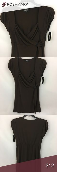 Brown Drape Front Short Sleeve Shirt Brown drape front short sleeve shirt. Never worn. Fitted sleeve. 92% polyester 8% spandex. Chest 17 inches. Length 26 inches. Sleeve 3 inches. Shoulder 14.5 inches. ℹbundle for a great dealℹ Amy Byer Tops Blouses