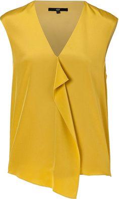 Tibi Mustard Silk Top in (mustard) | Lyst