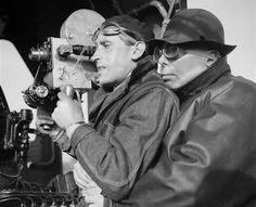 Curt Courant,Jean Renoir on the set of La Bete humaine (Jean Renoir, 1938)