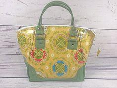 Yellow/Green Medallion Purse Handbag Laminated Cotton | Etsy Laminated Cotton Fabric, Shopping Totes, Cork Fabric, Shades Of Yellow, Green Print, Fabric Samples, Hang Tags, Purses And Handbags, Projects