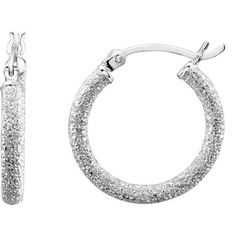 Sterling Silver Stardust Hoop Earrings