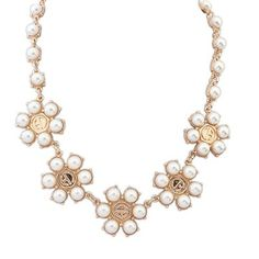 Stylish white pearls decorated flower shape design alloy Korean Necklaces:Asujewelry.com