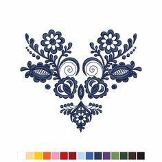 Veľká výšivka z oblasti Vajnory Štylizovaná výšivka inšpirovaná kožuchom z Malokarpatskej oblasti. Flower Embroidery Designs, Folk Embroidery, Hand Embroidery Patterns, Cross Stitch Embroidery, Machine Embroidery Designs, Folk Art Flowers, Flower Art, San Santiago, Polish Tattoos