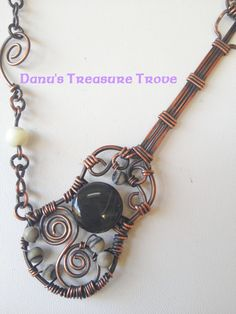 Copper Wire Wrapped Guitar with Rainbow Obsidian, Black Silk Marbles by DanusTreasureTrove via Etsy