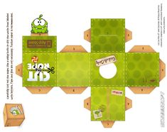 Om-Nom Fabric Box Cubeecraft by ~viperfan14 (Cut the Rope)
