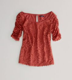AE Ruched Lace T