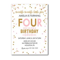 You can edit this invitation with the latest version of Adobe Reader!  About the file:  -5x7 PDF -All of the text is editable, except Twinkle Twinkle Little Star, Four and Please join us for a birthday celebration.  -Fonts shown are embedded into the file.  -This item is the invitation only. Item does not include color changes, layout changes, font resizing, cropping of template or printing.  -You are not able to edit this file on an iPad, iPhone or any other handheld device.  **HOW IT…
