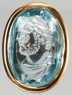 glyptic ring:       bust of Caracalla, laureate     Roman, Late Empire    211-217 AD