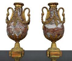 cassolettes anciennes XIXème marbre et bronze doré