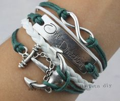 Infinity one direction anchor bracelet blackish green by Lolitadiy, $3.99