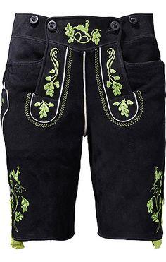 Aus Kornveloursleder gefertigte Trachten-Lederhose in Schwarz mit Hirsch- und Blatt-Stickereien am Latz und Hosenbeinabschluss. Die Meindl Plattlerhose in Schwarz kann am Gesäß und am Bein in der Weite reguliert werden. Mit zwei Eingriffstaschen.