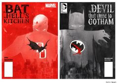 """a Bat in Hell's Kitchen"" / ""the Devil that came to Gotham"" - Daredevil vs. Batman by Dustin Nguyen"