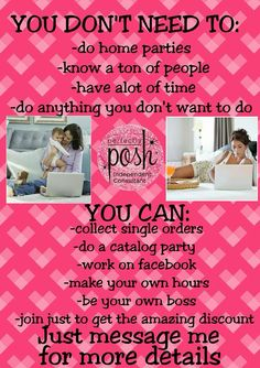 Posh makes it easy to work for you! Join me Link to order or join Posh: https://www.perfectlyposh.com/PoshwithFaith/   Contact me at:https://www.facebook.com/tweedle.kae