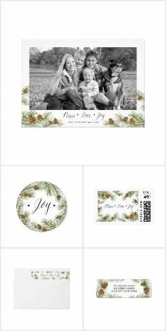 Peace Love Joy Pine cone Christmas Collection | Holiday Evergreen branches tree, Photo card, sticker, postage stamp, return address label| Holiday Rustic Country Christmas