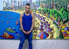 assaf henigsberg modeling for the painter raphael perez naive art paintings folk painter artists landscape paitings naif painters gallery אסף הניגסברג מדגמן עבור הצייר רפי פרץ