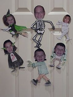 Create a family tree by cutting out heads and putting them on cartoon bodies.