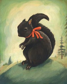 Black squirrel  art of Emily Winfield Martin at http://www.etsy.com/listing/127927819/common-black-squirrel-with-ribbon-print