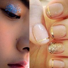 Incorporate a little #sparkle into your #weddingday  these nails! The #glitter on the ring finger is such a cute touch #weddingnails #goldnails #nailart #gold #ringfinger #weddingbeauty #bridebeauty #bridetobe #bblogger #artdeco #artdeconails #stripes #glittereyes #glittereyeshadow #muotd #bridemakeup #weddingblog #weddingblogger #londonblog #londonblogger #devinebride