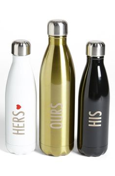 S'well 'Couples' Water Bottles - too cute! HIS & HERS water bottles! Agua Mineral, Get Thin, Gym Essentials, Bottle Packaging, Engagement Gifts, Engagement Parties, Bottle Design, Fit Chicks, Cool Stuff