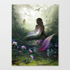 Little+mermaid+Stretched+Canvas+by+MilyKnight+-+$85.00